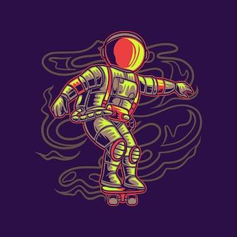 Astronauta cool con illustrazione di skateboard