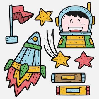 Astronauta simpatico cartone animato doodle illustrazione