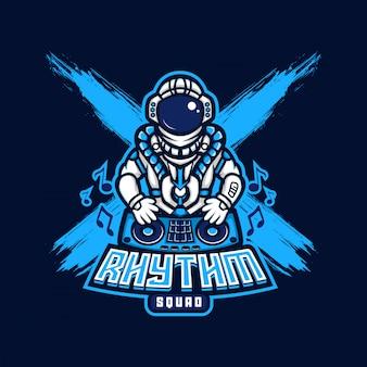 Astronaut dj rhythm logo esport gaming
