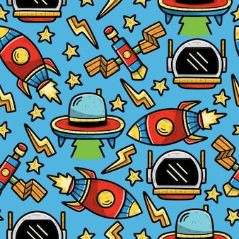 Astronauta doodle seamless pattern design