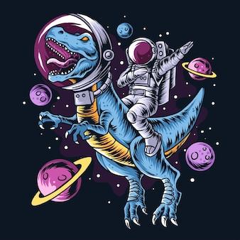 L'astronauta guida i dinosauri t-rex nello spazio pieno di stelle e pianeti. strati modificabili grafica