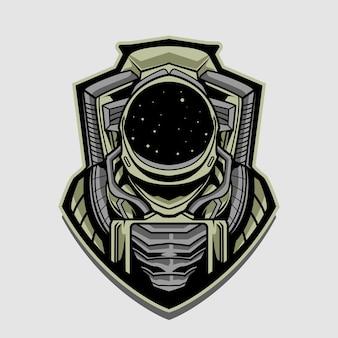 Illustrazione di progettazione dell'emblema dell'astronauta isolata