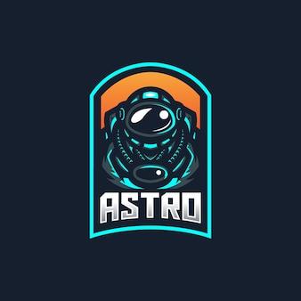 Modello di logo della mascotte di gioco di astronauta esport per la squadra di streamer.