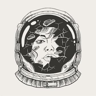 Femmina astronauta con un vetro rotto