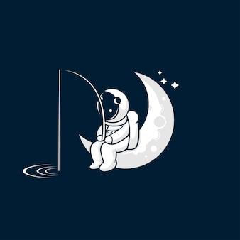 Astronauta che pesca sull'illustrazione della luna