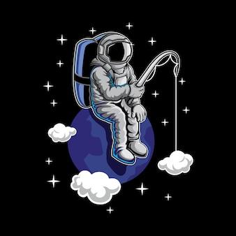 Pesca dell'astronauta nell'illustrazione dello spazio