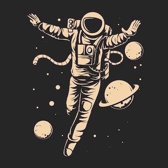Galleggiante dell'astronauta sulla galassia con progettazione dell'illustrazione di vettore del pianeta