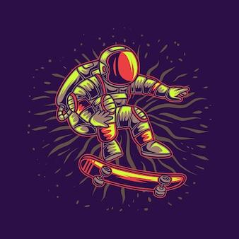 Astronauta fluttuante nell'aria su un'illustrazione di skateboard