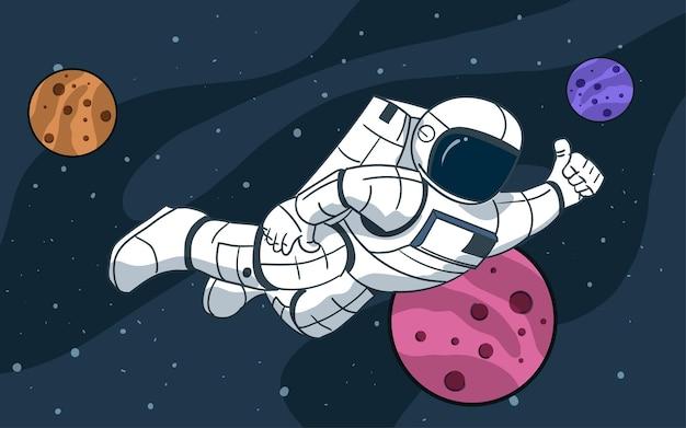 Astronauta che galleggia nell'illustrazione dello spazio con i pianeti