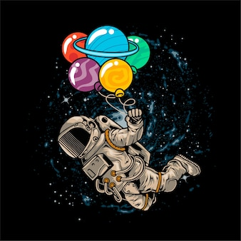 Astronauta fluttuante nello spazio utilizzando il pianeta palloncino
