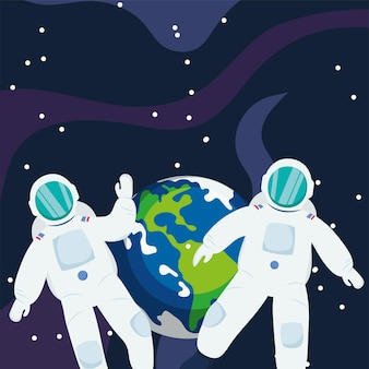 Astronauta davanti alla terra nello spazio dell'universo