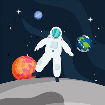 Astronauta davanti ai pianeti nello spazio dell'universo