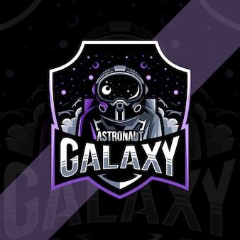 Astronauta galassia mascotte logo esport design