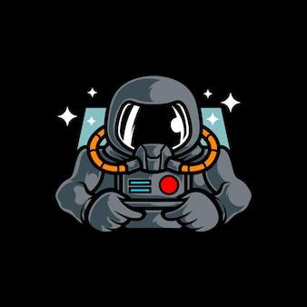 Astronauta gamer e sport logo