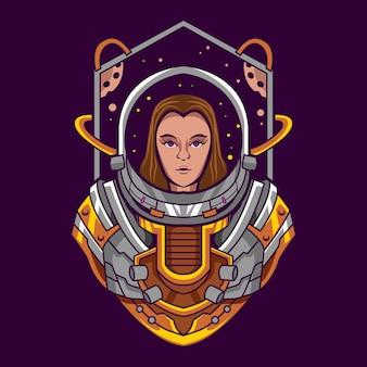 Progettazione dell'illustrazione della ragazza dell'astronauta
