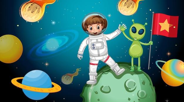 Ragazza astronauta con un alieno in piedi su un asteroide nella scena spaziale