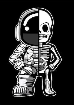 Mezzo scheletro di astronauta