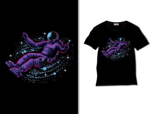 Astronauta divertendosi nell'illustrazione dello spazio esterno con il design della maglietta