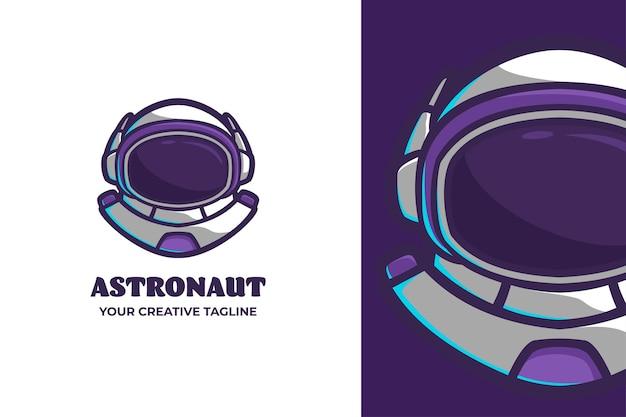 Logo della mascotte dei cartoni animati del casco dell'astronauta