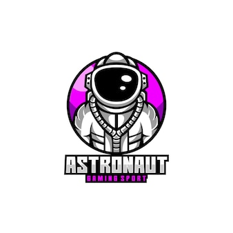Astronauta casco cosmo spazio pianeta logo