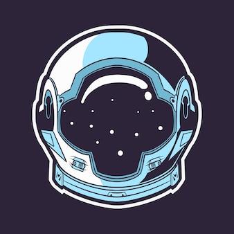 Illustrazione di casco astronauta isolato su sfondo scuro