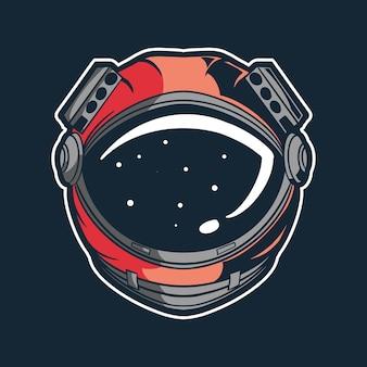 Disegno dell'illustrazione di vettore del casco dell'astronauta
