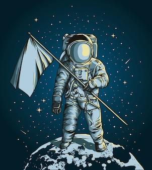 Astronauta in possesso di una bandiera sopra la luna con lo spazio esterno