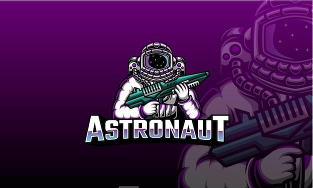 Astronauta che tiene il logo di esportazione della pistola