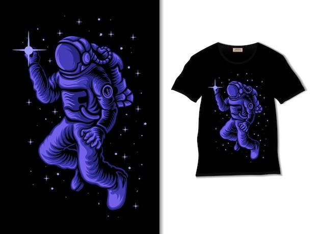 Astronauta che tiene l'illustrazione delle stelle con il design della maglietta