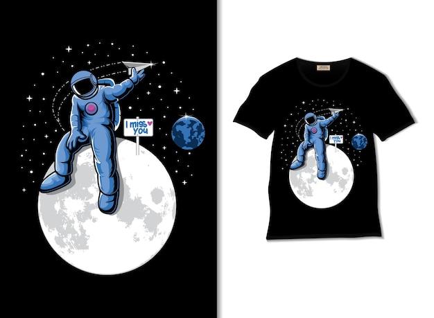 Astronauta nostalgia per il design della maglietta