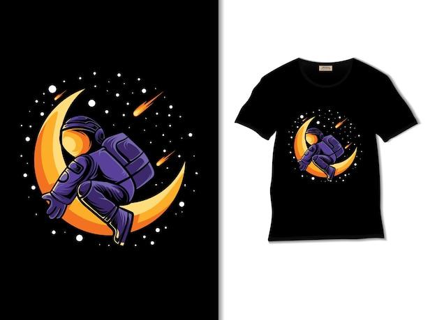 L'astronauta abbraccia l'illustrazione della luna con il design della maglietta