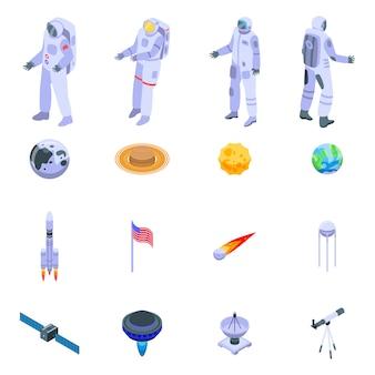 Set di icone di astronauta, stile isometrico