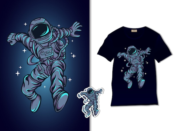 L'astronauta salta sull'illustrazione del cielo