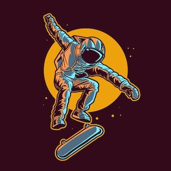 L'astronauta salta sullo skateboard spaziale con sfondo di luna