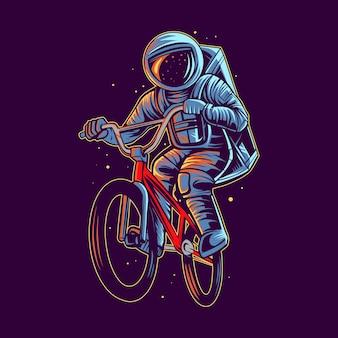 L'astronauta salta con l'illustrazione del bmx