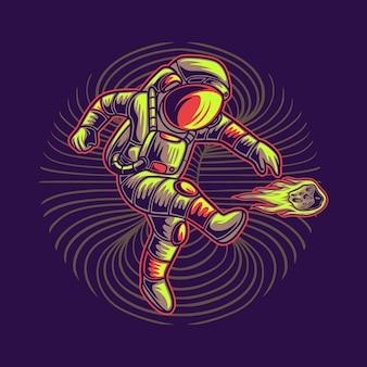 Astronauta che dà dei calci alla meteora