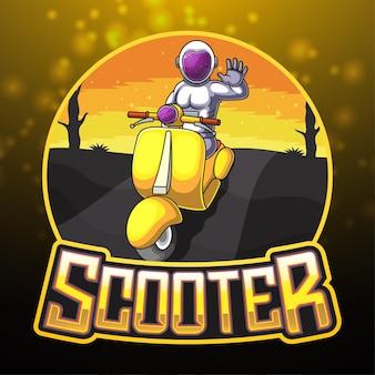 Mascotte logo astronauta alla guida di uno scooter giallo