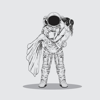 Astronauta uomo salvatore ragazza ilustration line art