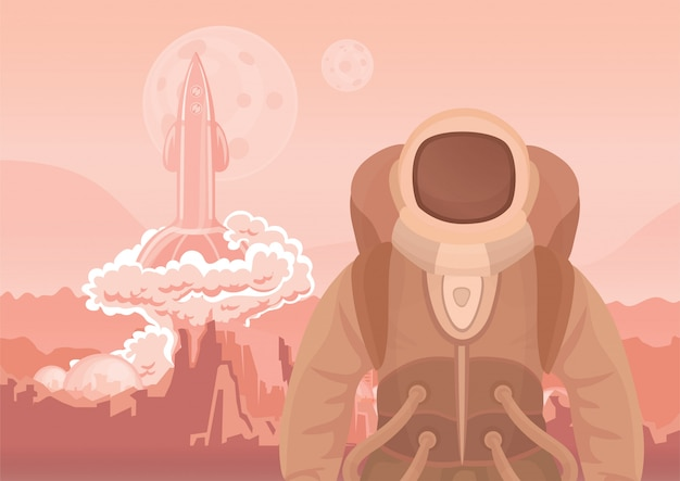 Astronauta su marte o su un altro pianeta. un razzo che vola via. viaggio spaziale. illustrazione. Vettore Premium