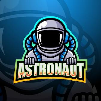 Illustrazione di logo esport mascotte astronauta