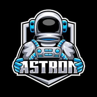 Logo mascotte astronauta per esport e squadra sportiva