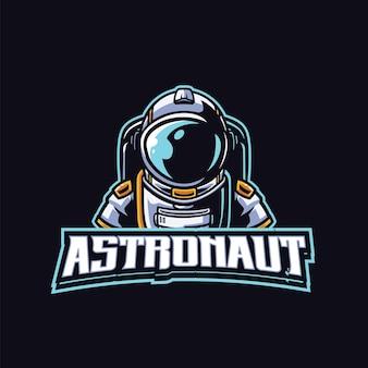 Modello di logo mascotte astronauta per esport e squadra sportiva logo