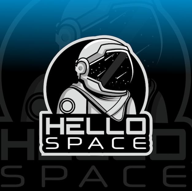 Modello di logo mascotte astronauta