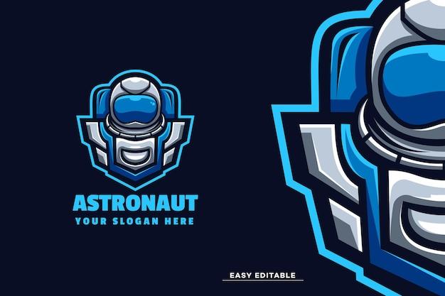 Modello di logo della mascotte dell'astronauta