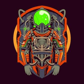 Progettazione dell'illustrazione del vestito mecha dell'astronauta