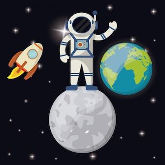 Astronauta in razzo di pianeta terra luna Vettore Premium