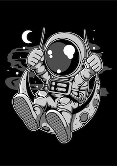 Astronauta luna swinger cartoon cahracter