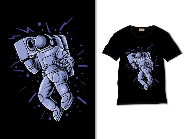 Gli amanti della musica degli astronauti portano un registratore retrò con il design della maglietta