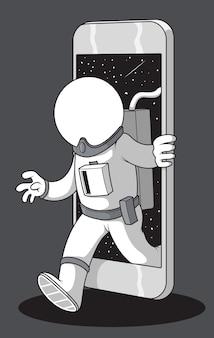 Telefono astronauta. concetto di design di esplorazione