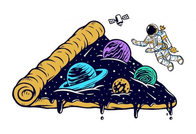 Universo di astronauta e pizza